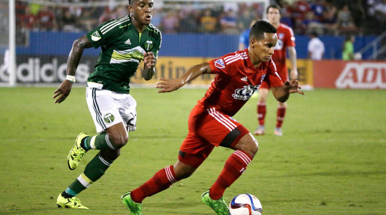 Michael Barrios scored two goals in FC Dallas's win against Portland.