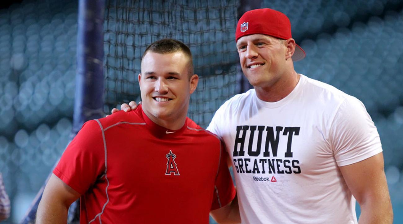 JJ Watt meets Mike Trout Astros batting practice