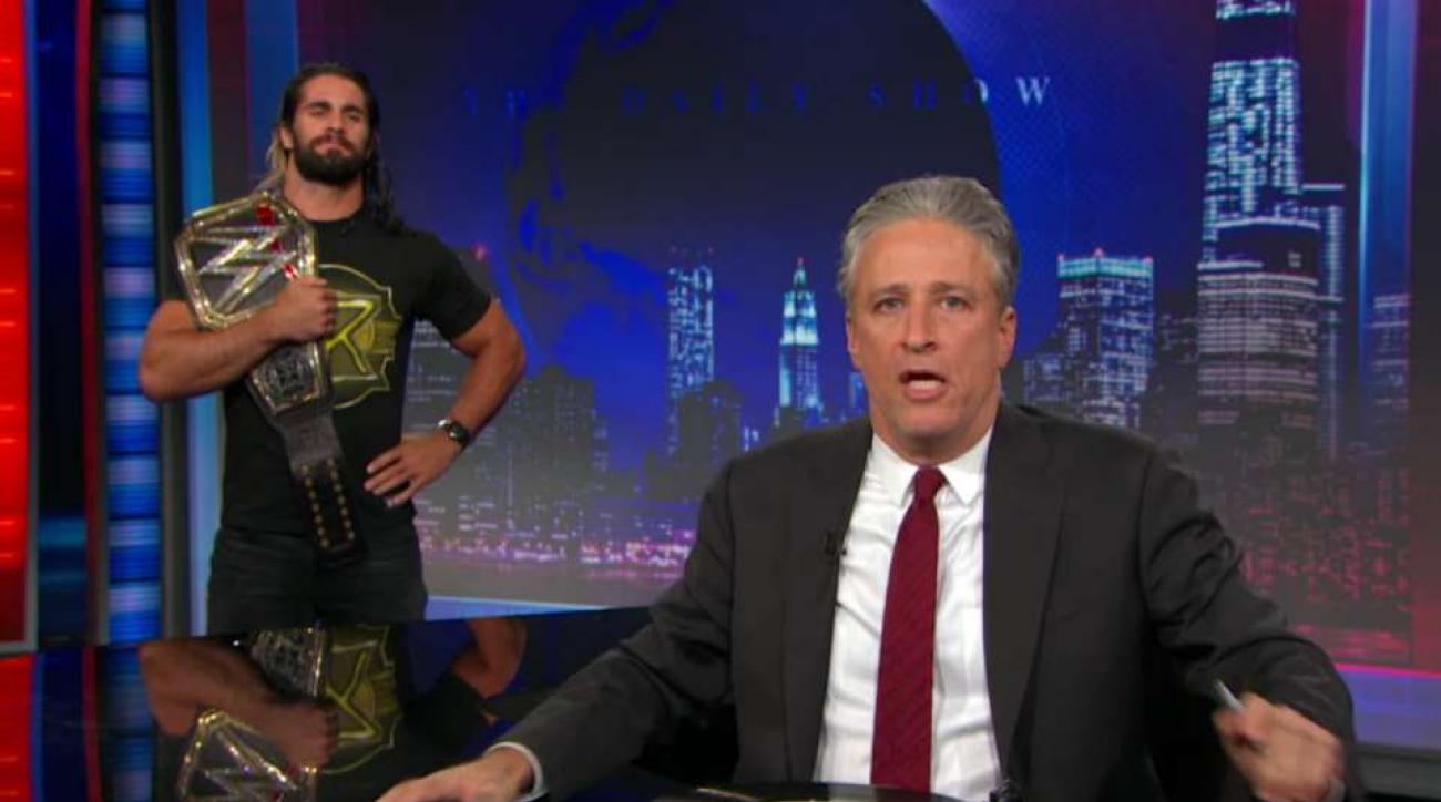 WWE's Seth Rollins, Jon Stewart continue feud on Daily Show
