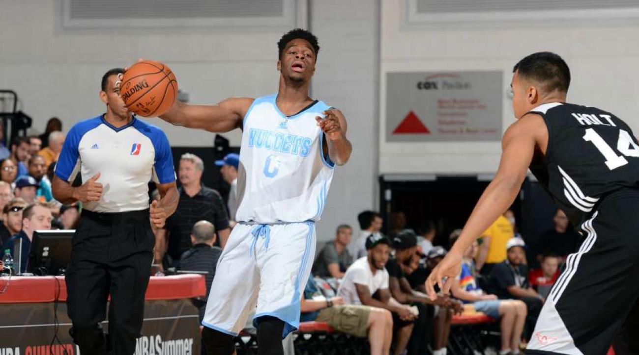 Emmanuel Mudiay hit a seated half-court shot from the sideline