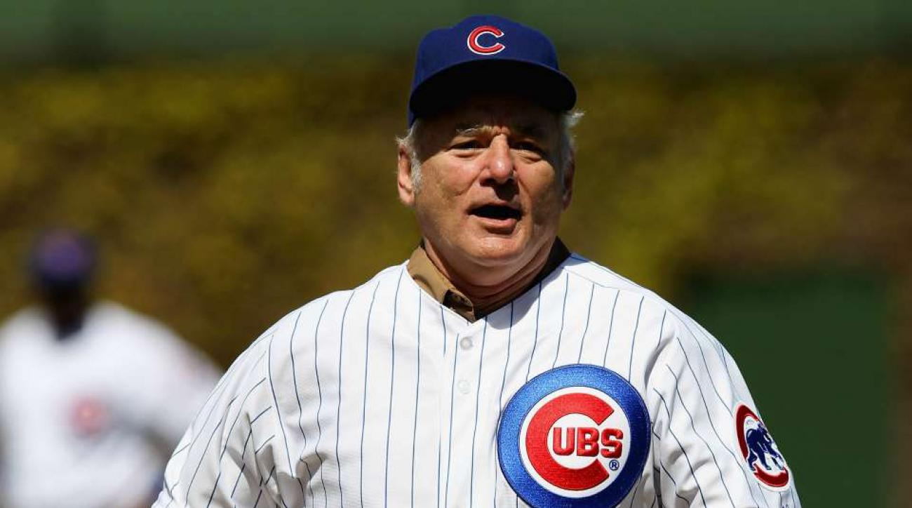 Bill Murray's first pitch went over the backstop