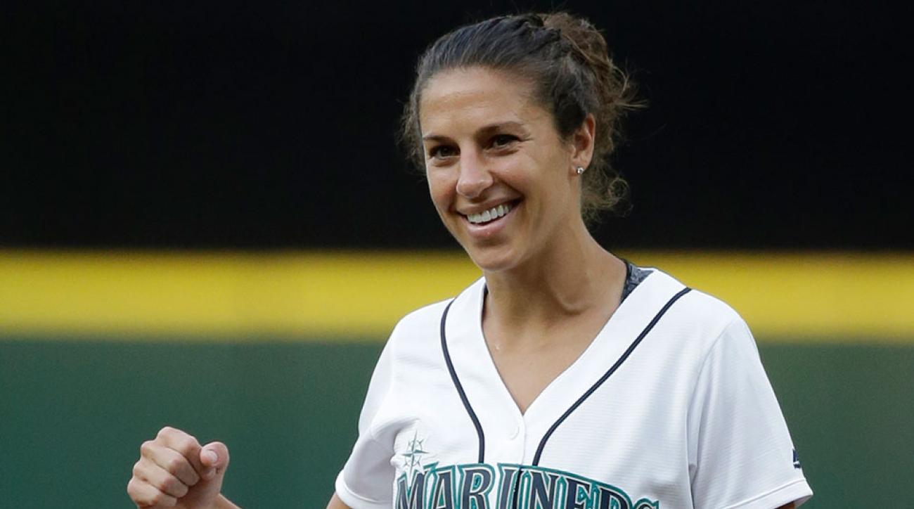 Carli Lloyd first pitch Mariners game
