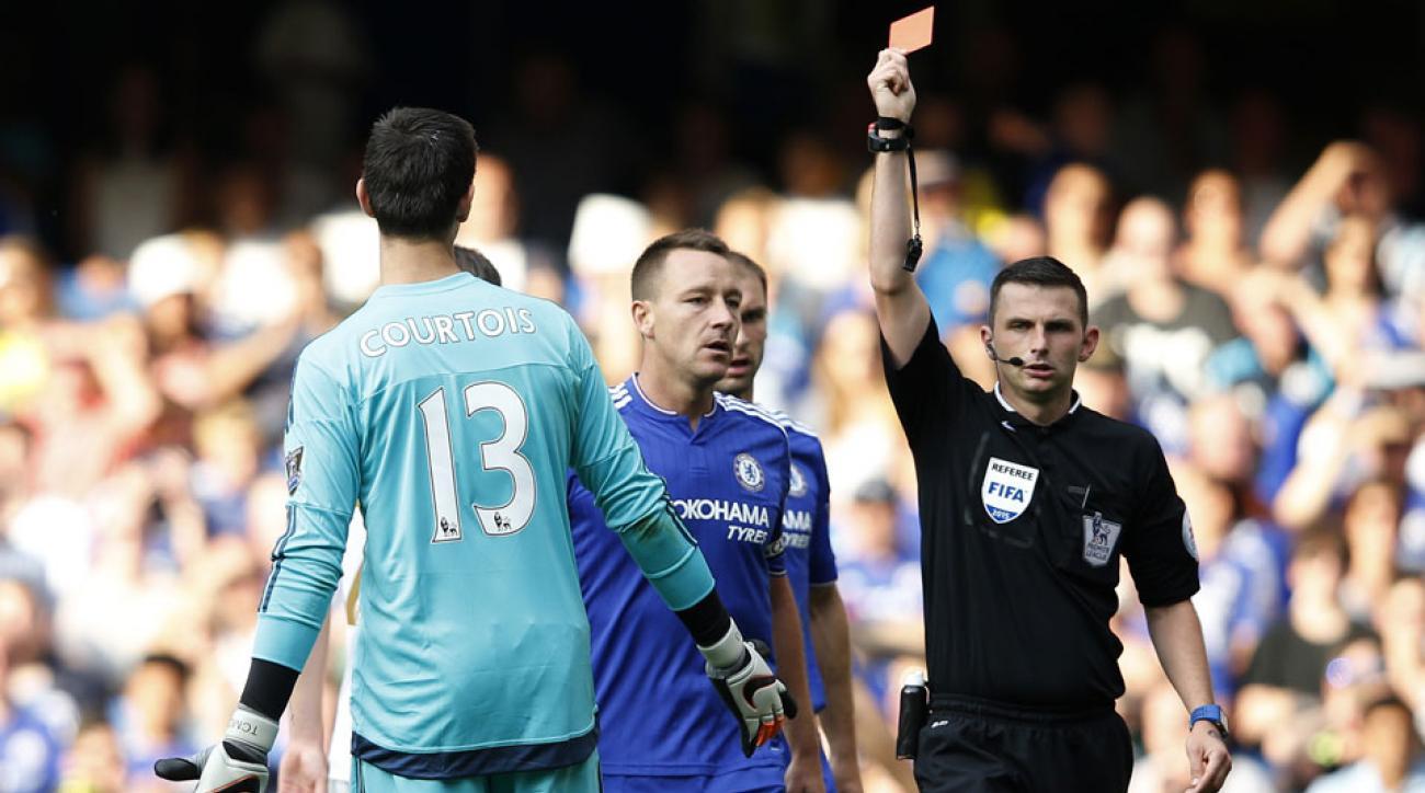 Thibaut Courtois was sent off in Chelsea's season opener