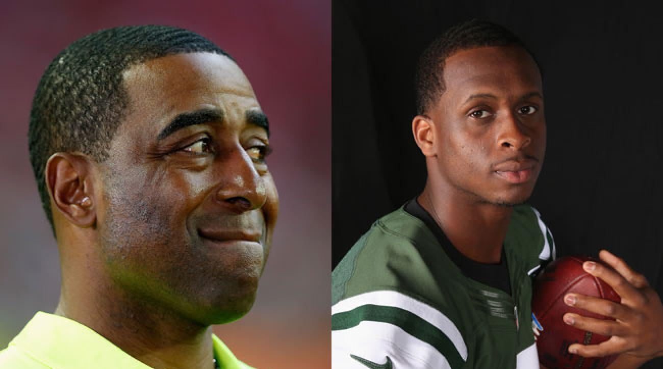 Cris Carter and Geno Smith. (Christian Peterson and Al Pereira/Getty Images)