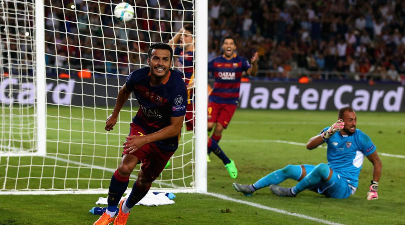 Pedro scores the game-winner for Barcelona in the UEFA Super Cup vs. Sevilla