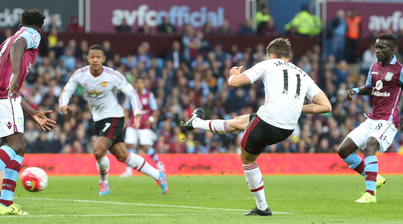 Adnan Januzaj scores for Manchester United against Aston Villa