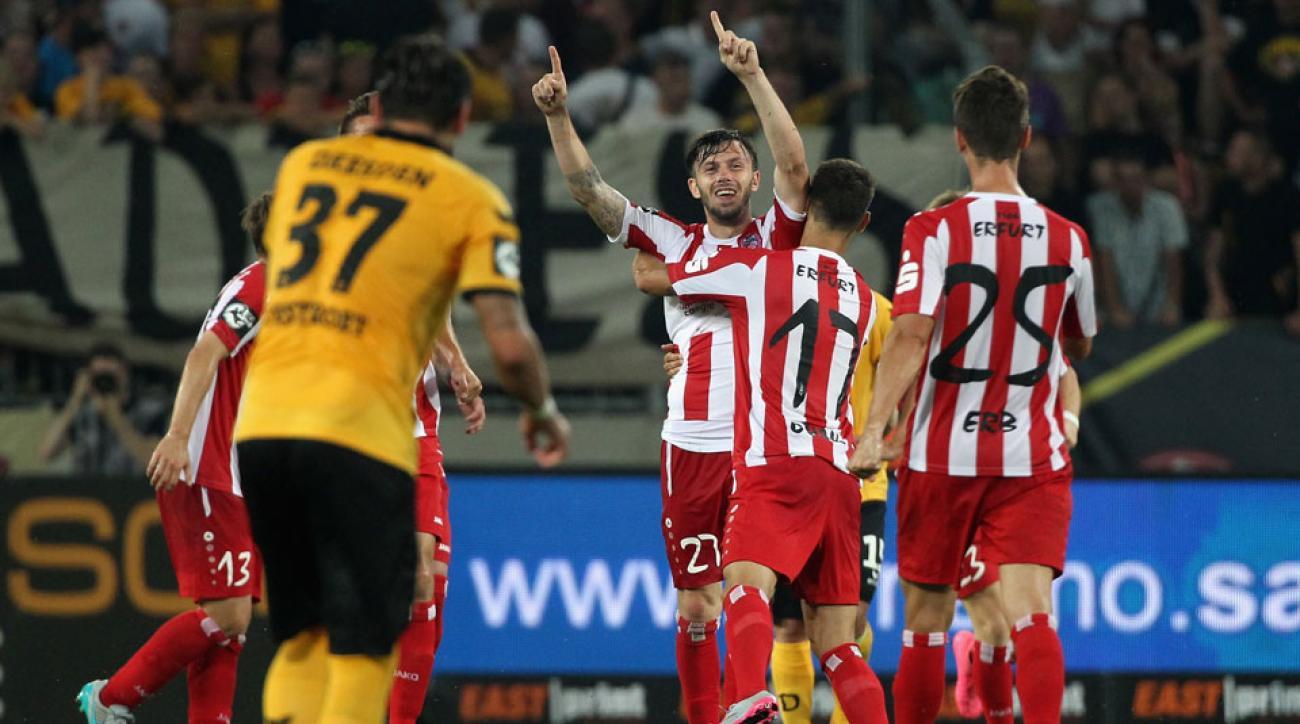 Carsten Kammlot celebrates his incredible goal in 3. Liga