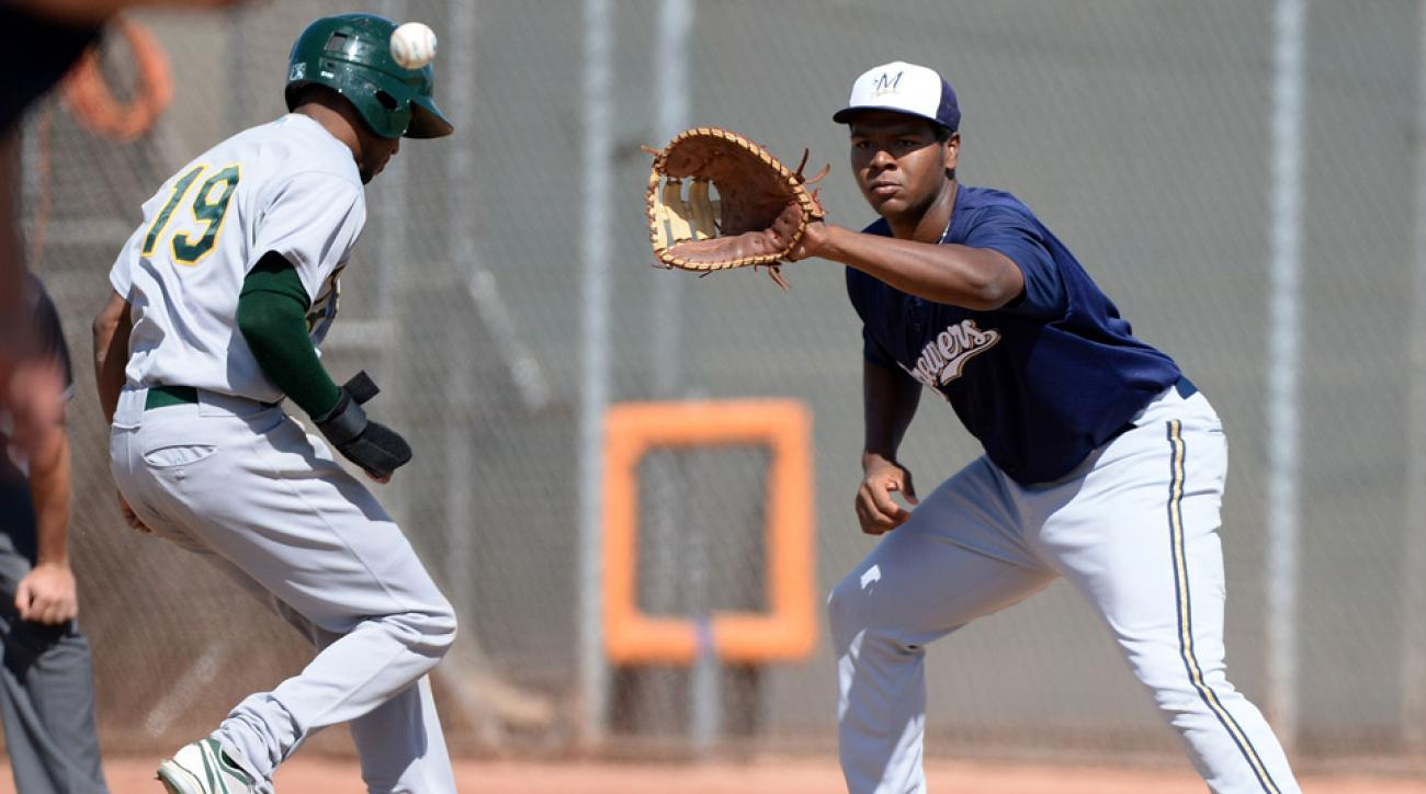 David Denson, right, in an Instructional League game from 2013.