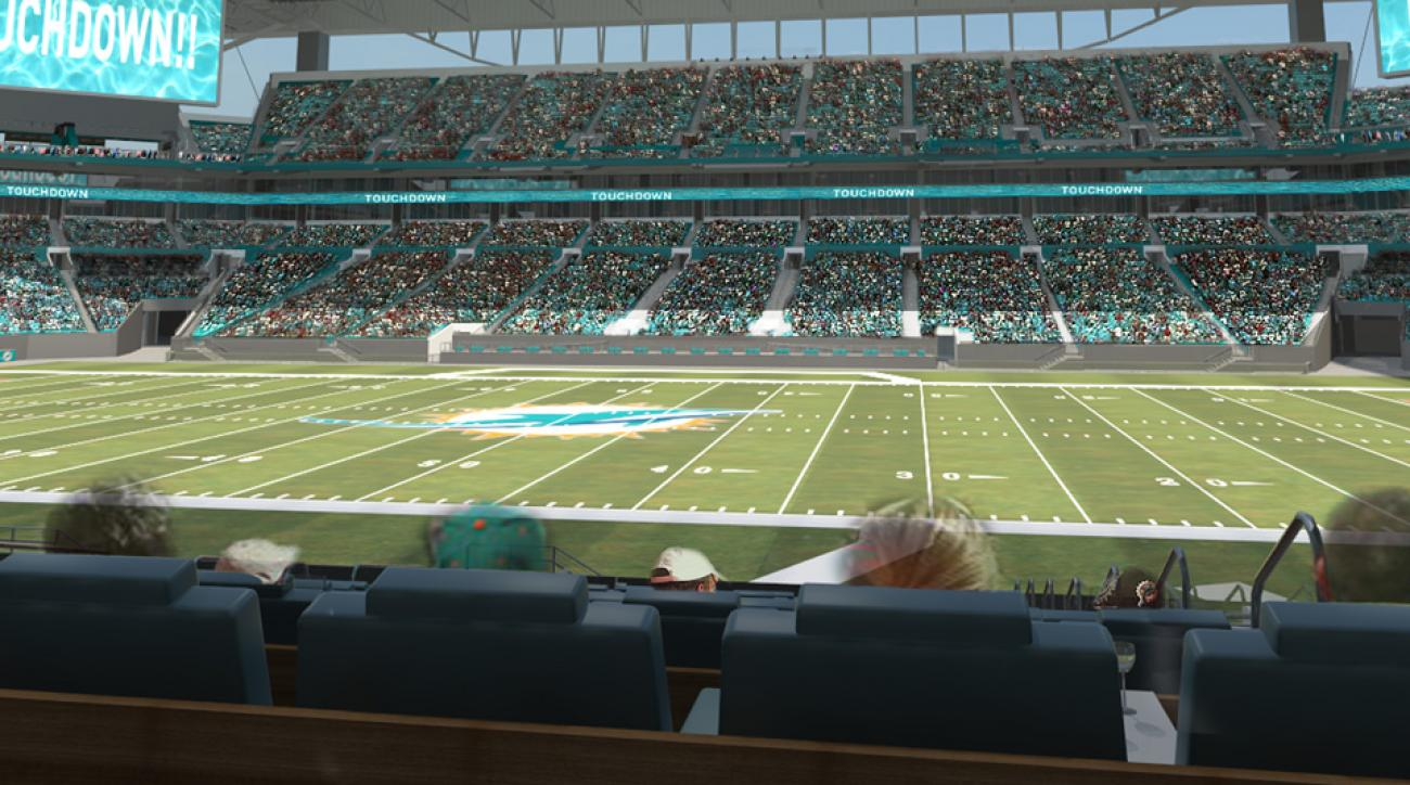 An open-air canopy is still a year away, but Dolphins fans will be sitting in new aqua-blue seats this season.