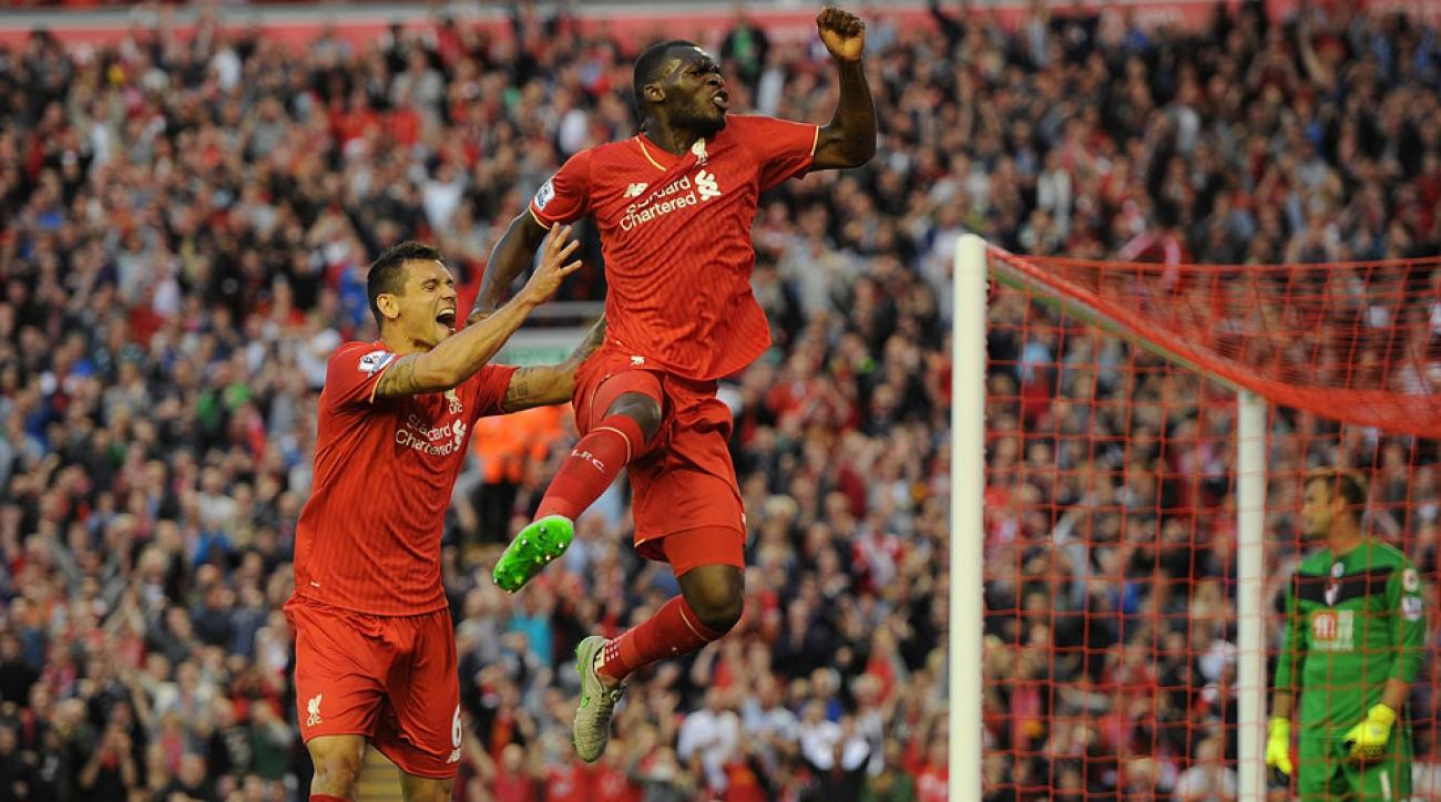 Christian Benteke celebrates his winning goal for Liverpool vs. Bournemouth