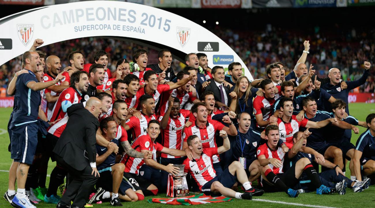 Athletic Bilbao celebrates beating Barcelona in the Spanish Super Cup