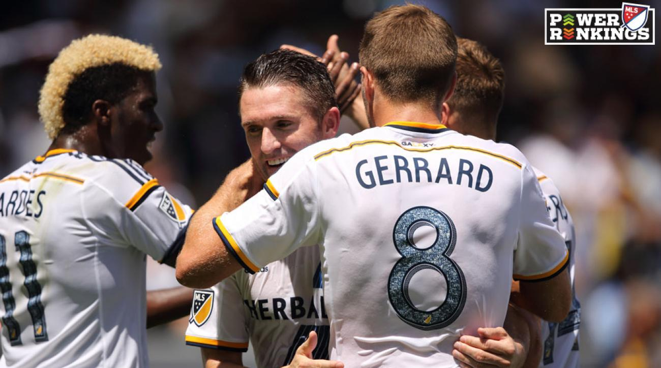 Robbie Keane, Steven Gerrard, Gyasi Zardes celebrate during the LA Galaxy's rout of NYCFC
