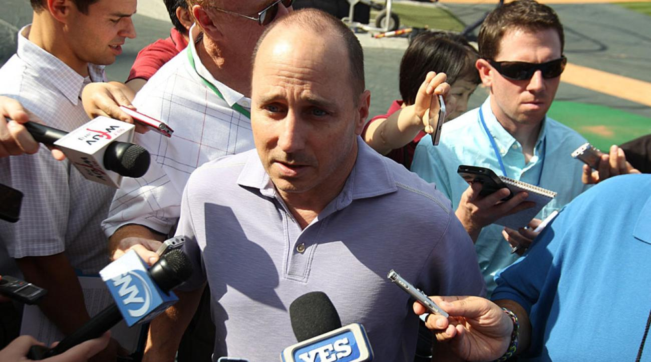 Image result for brian cashman talking to reporters