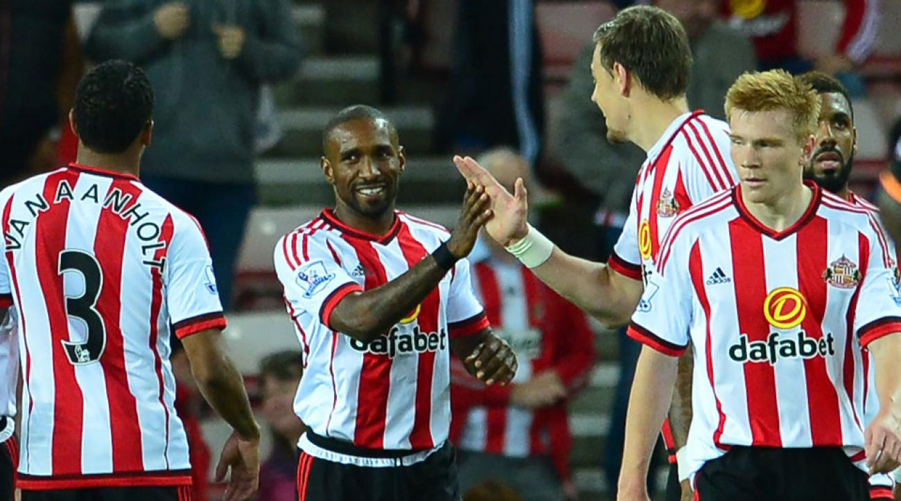 Jermain Defoe celebrates one of his goals for Sunderland in the League Cup