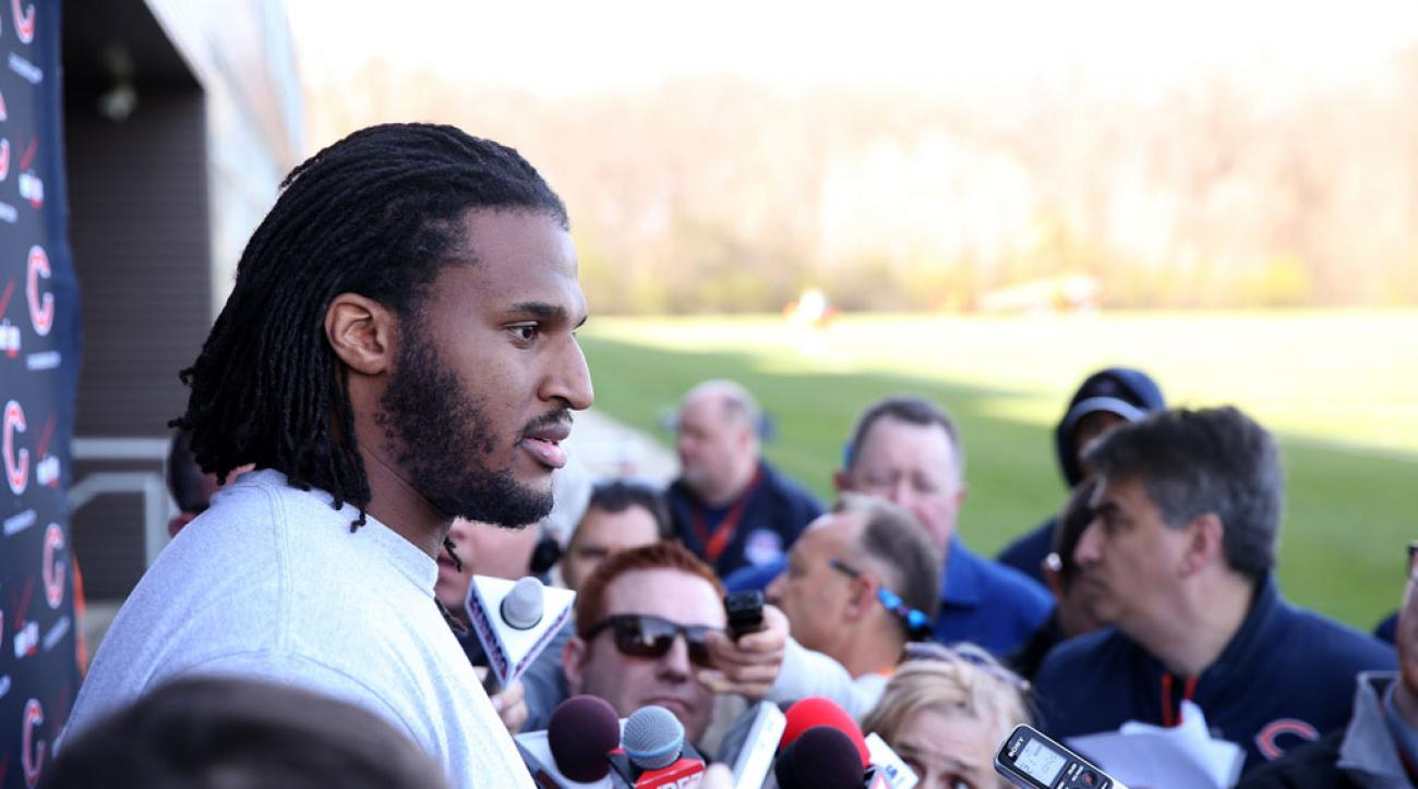 Ray McDonald speaking to reporters in April, before he was released by the Chicago Bears.