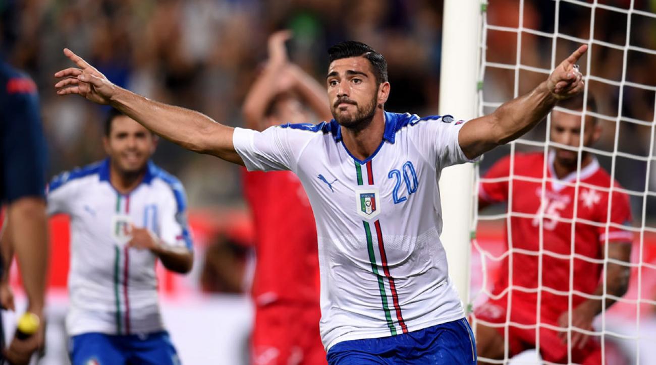Graziano Pelle celebrates his winner for Italy over Malta in Euro 2016 qualifying