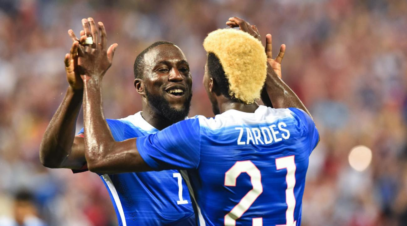Jozy Altidore and Gyasi Zardes celebrate after combining on the USA's second goal in a 2-1 win over Peru
