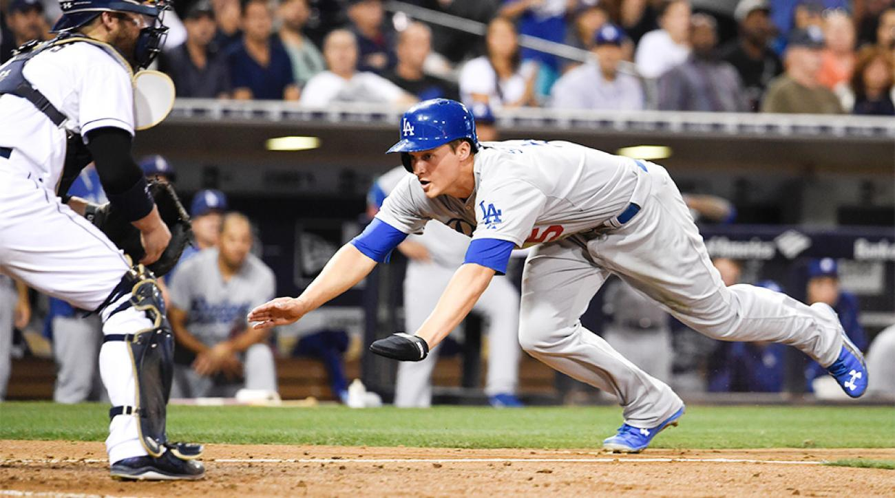 L.A. Dodgers' Corey Seager doubled, scored a run in his MLB debut.