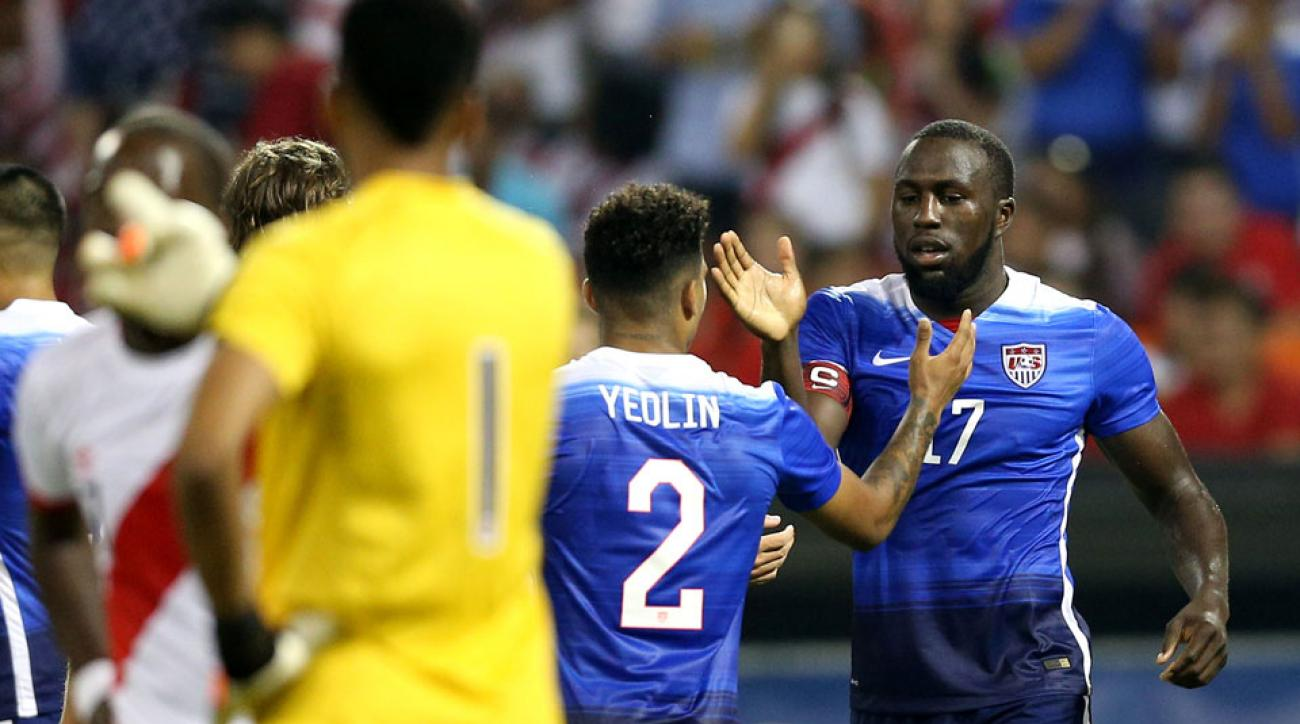 Jozy Altidore, DeAndre Yedlin celebrate during the USA's 2-1 win over Peru