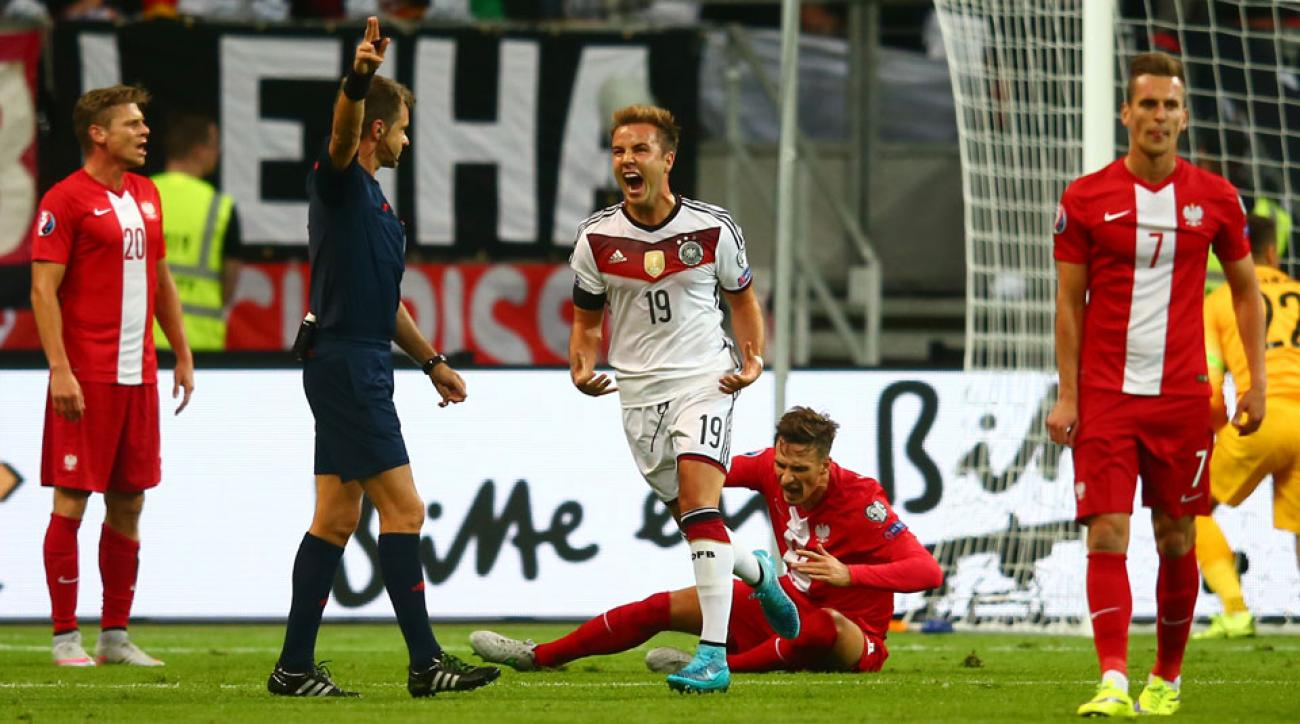 Mario Gotze scores for Germany against Poland in a Euro 2016 qualifying match