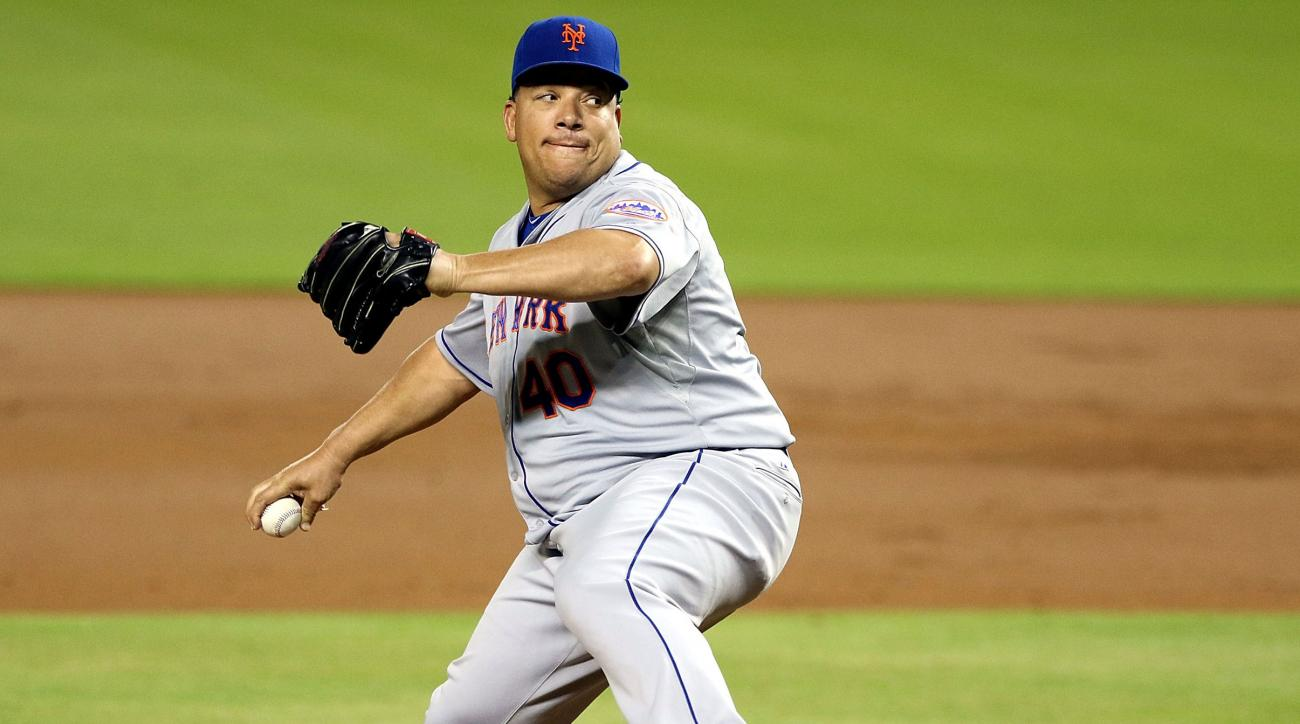 bartolo colon mets marlins behind back toss