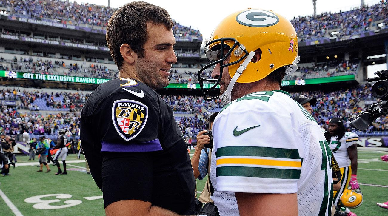 Joe Flacco and Aaron Rodgers (Patrick Smith/Getty Images)