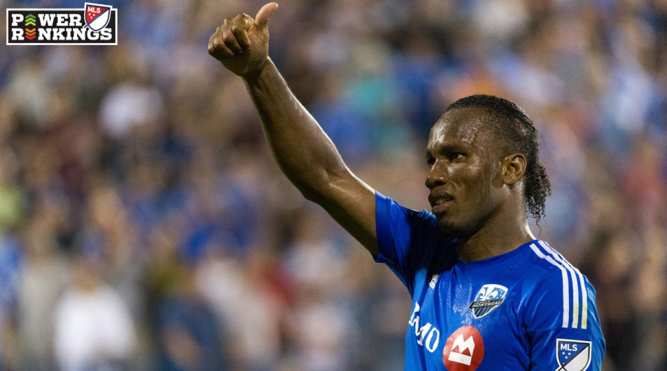 Didier Drogba gives the thumbs up after his hat trick for the Montreal Impact