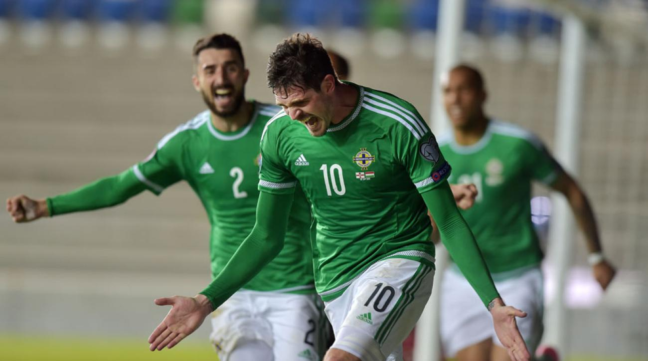 Kyle Lafferty celebrates his late equalizer for Northern Ireland in Euro 2016 qualifying