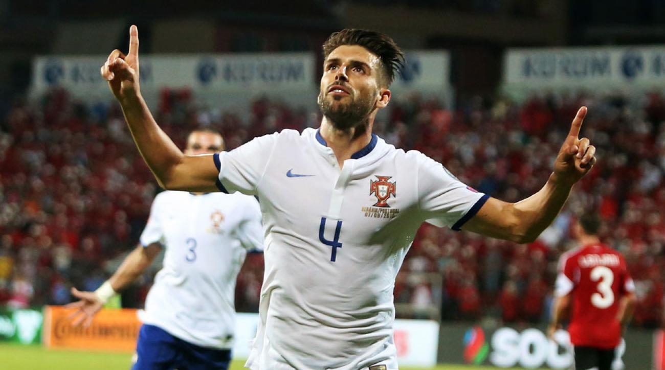 Miguel Veloso celebrates his game winner for Portugal vs. Albania in Euro 2016 qualifying