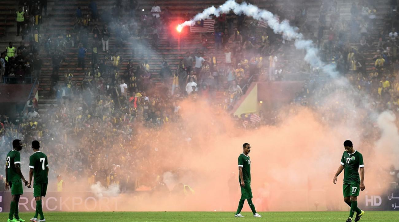 Flares caused Saudi Arabia vs. Malaysia World Cup qualifier to be suspended