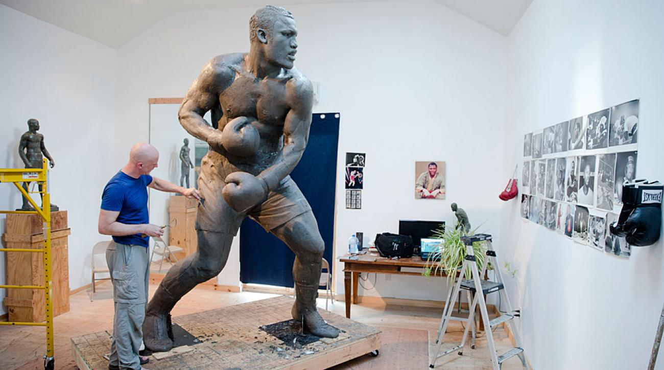 Artist Stephen Layne worked six hours a day, six days a week for two years to complete the sculpture of Joe Frazier.