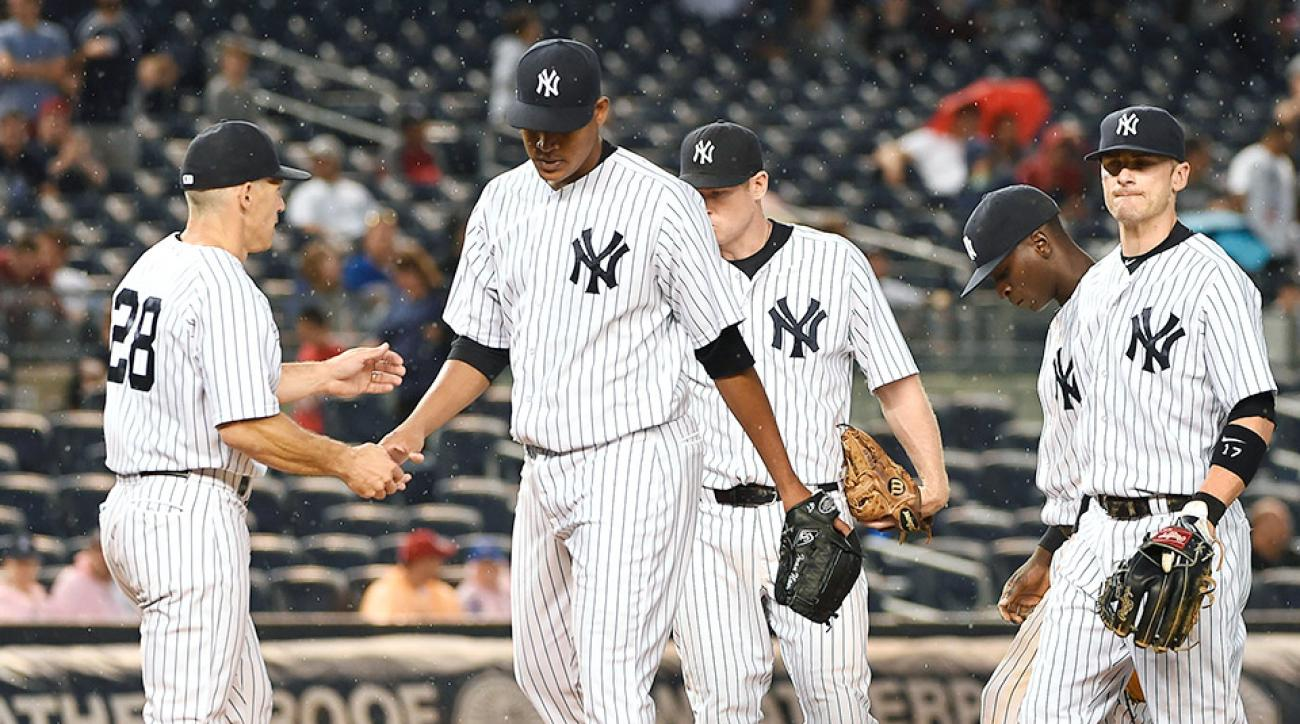 Yankees' pitching staff is crumbling against the Blue Jays.
