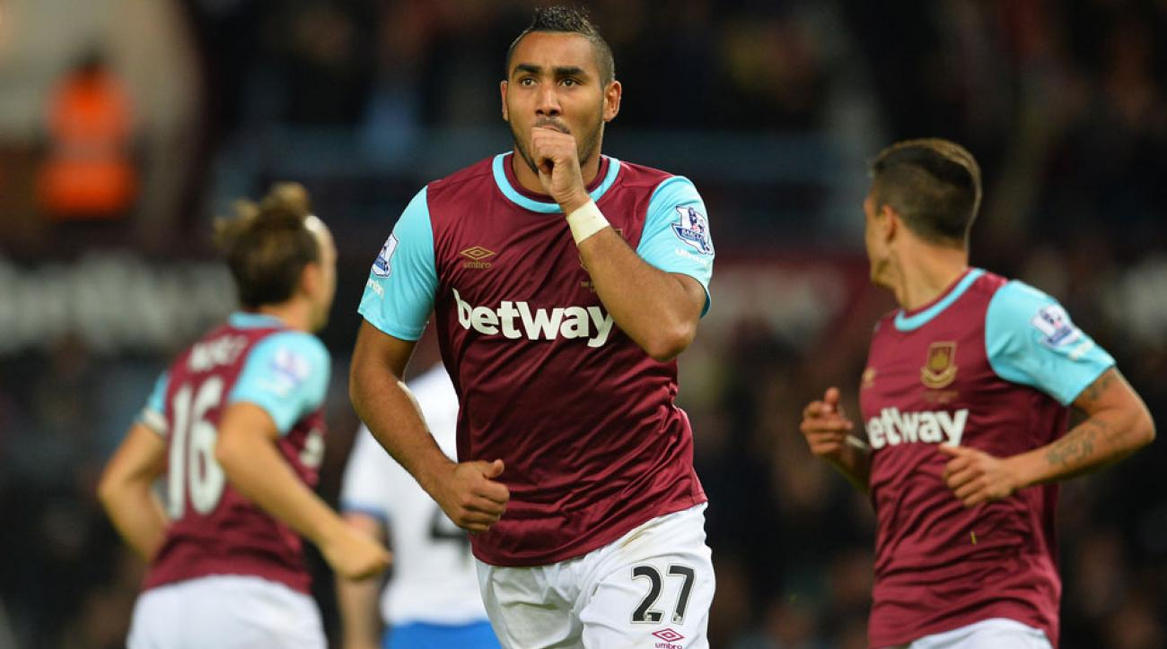 Dimitri Payet celebrates one of his two goals for West Ham vs. Newcastle