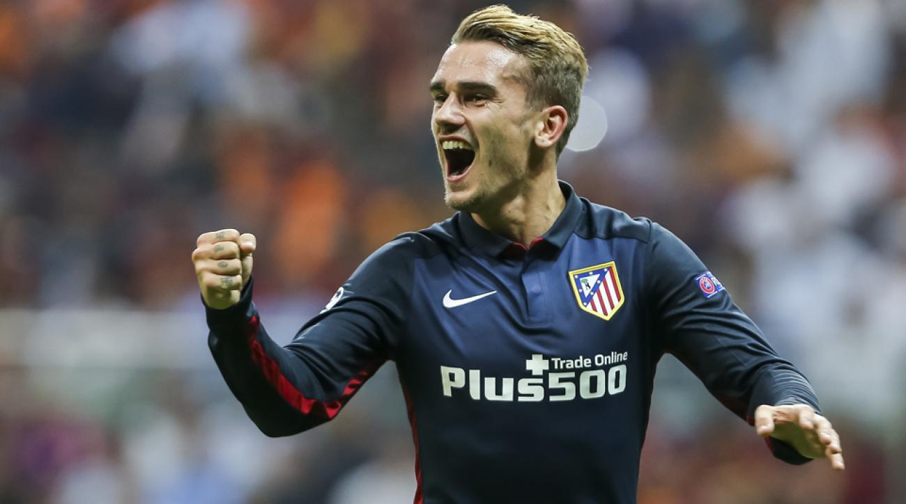 Atletico Madrid's Antoine Griezmann scores twice in the Champions League