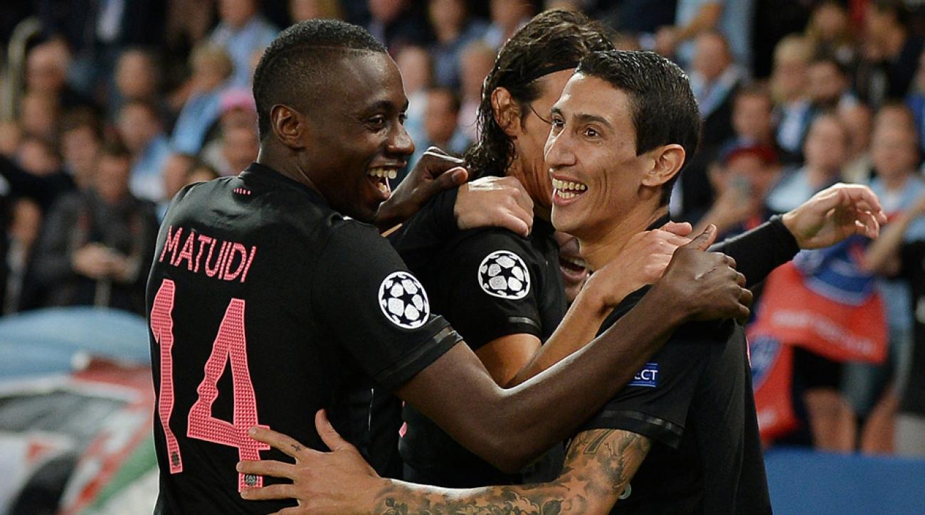 PSG celebrates Angel Di Maria's Champions League goal vs. Malmo