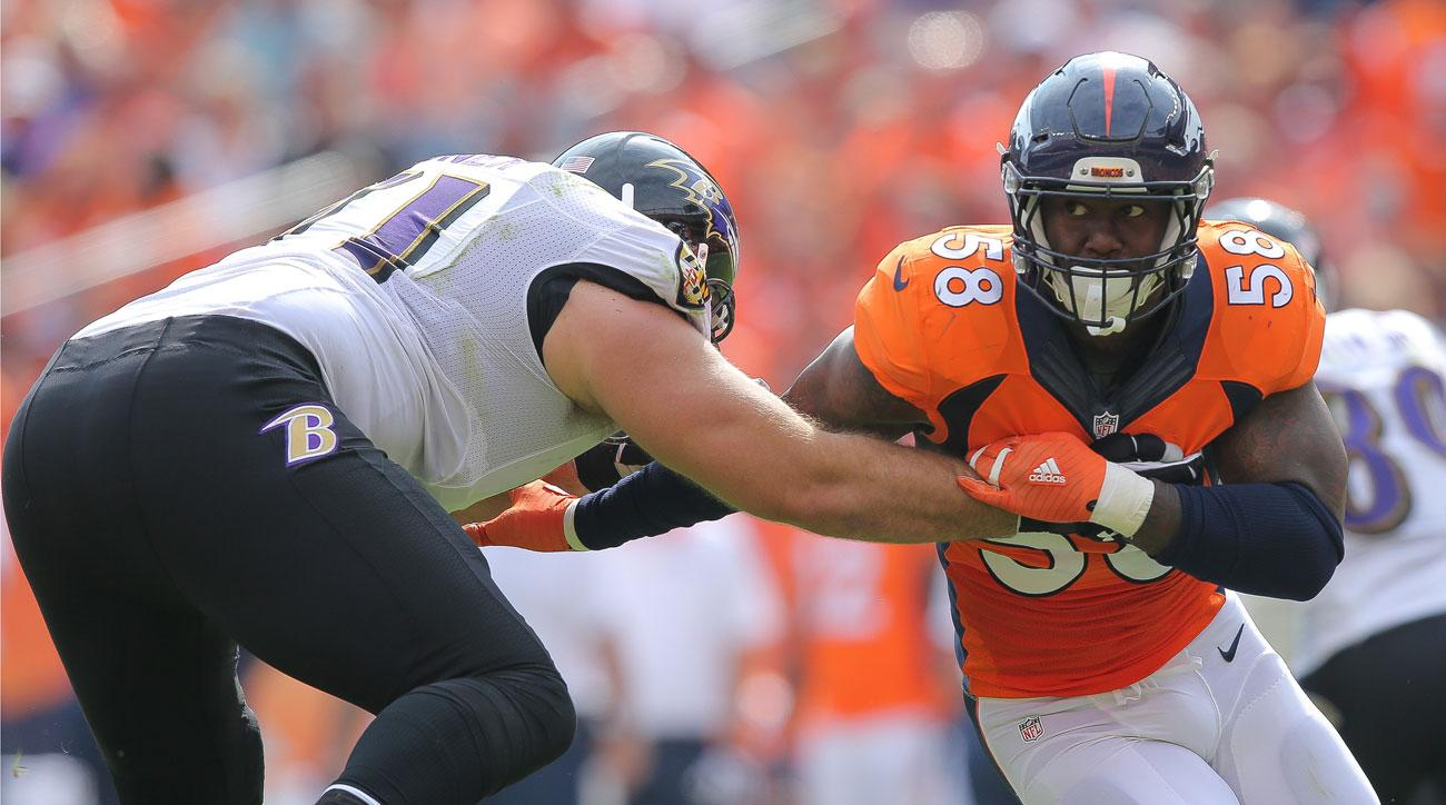Von Miller of the Broncos bears down on the Ravens in Denver's Week 1 win