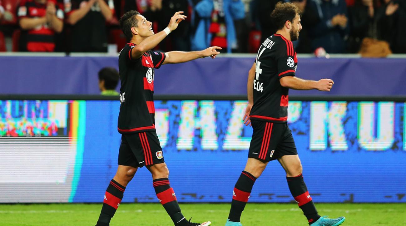 Chicharito celebrates his goal for Bayer Leverkusen in the Champions League