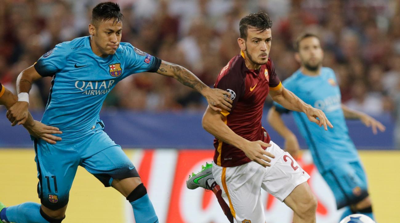 Neymar, Alessandro Florenzi tussle in Champions League