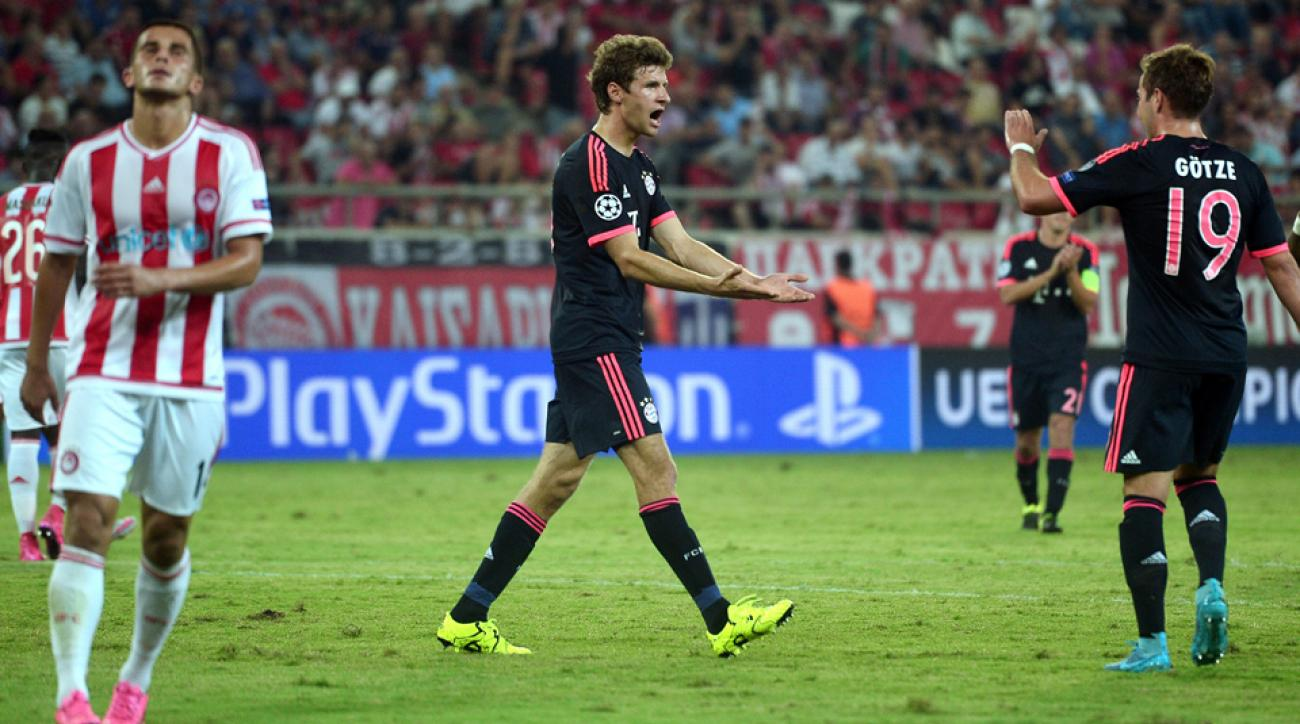 Thomas Muller scores twice for Bayern Munich in the Champions League