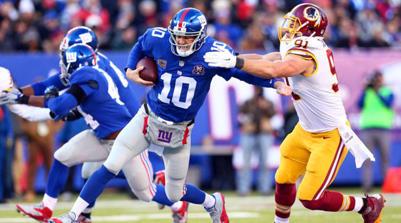 Washington defensive end Ryan Kerrigan sacks New York Giants quarterback Eli Manning. (Brad Penner/USA Today Sports)