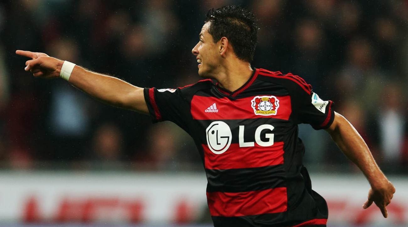 """Javier """"Chicharito"""" Hernandez scored his first Bundesliga goal for Bayer Leverkusen"""