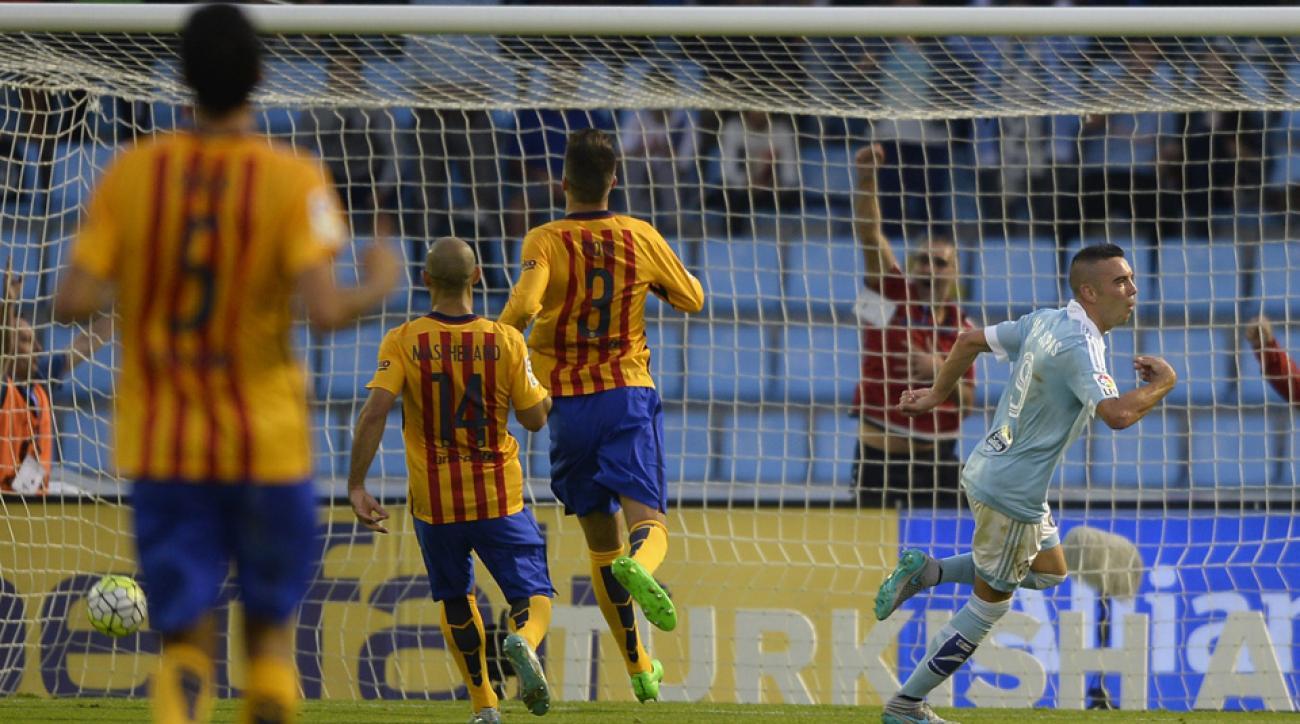 Iago Aspas celebrates one of his goals for Celta Vigo vs. Barcelona