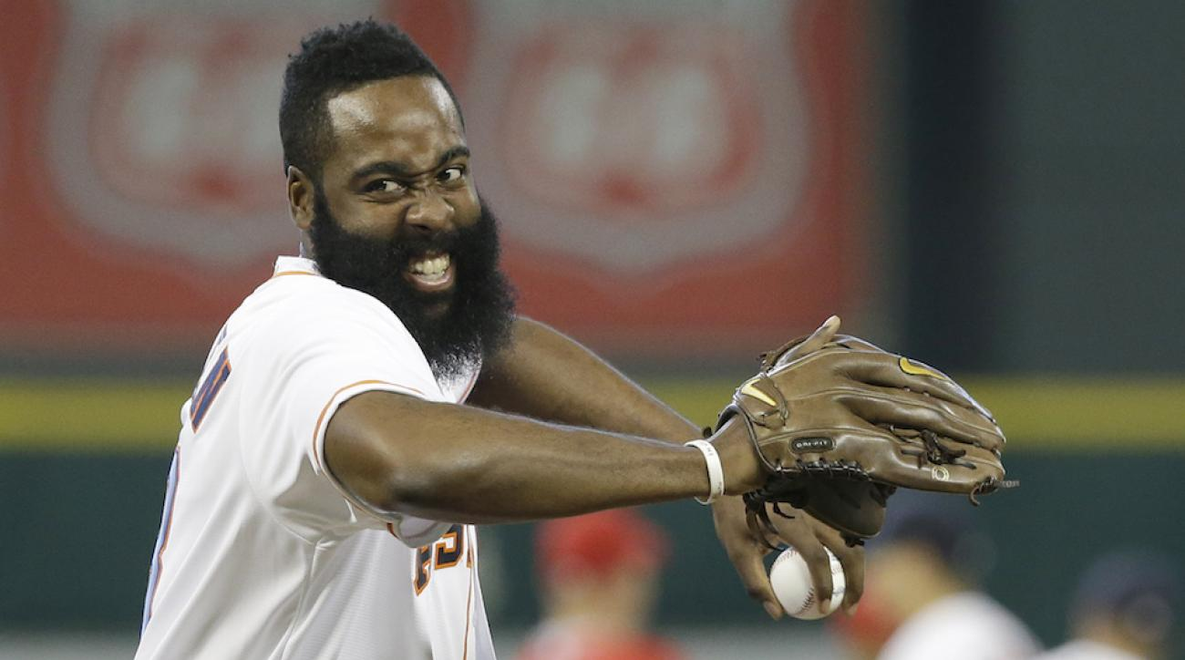 watch james harden throw first pitch video
