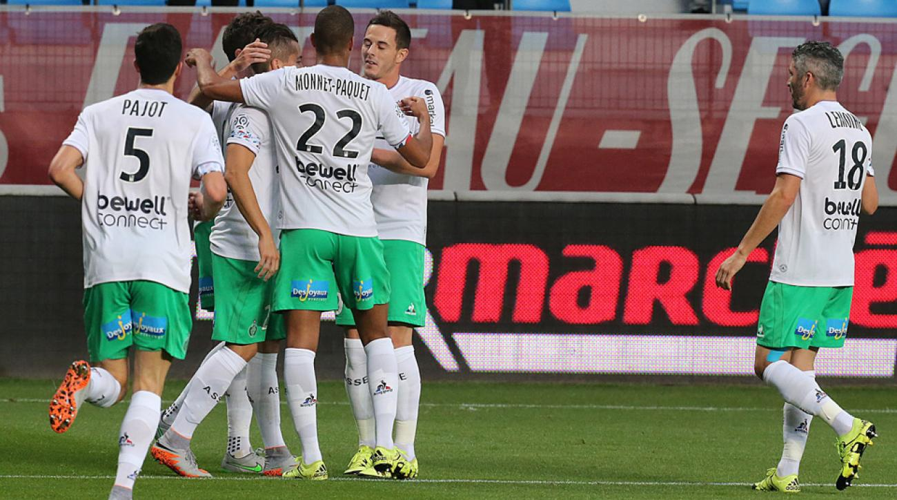 Saint Etienne celebrates during its 1-0 win over Troyes in Ligue 1