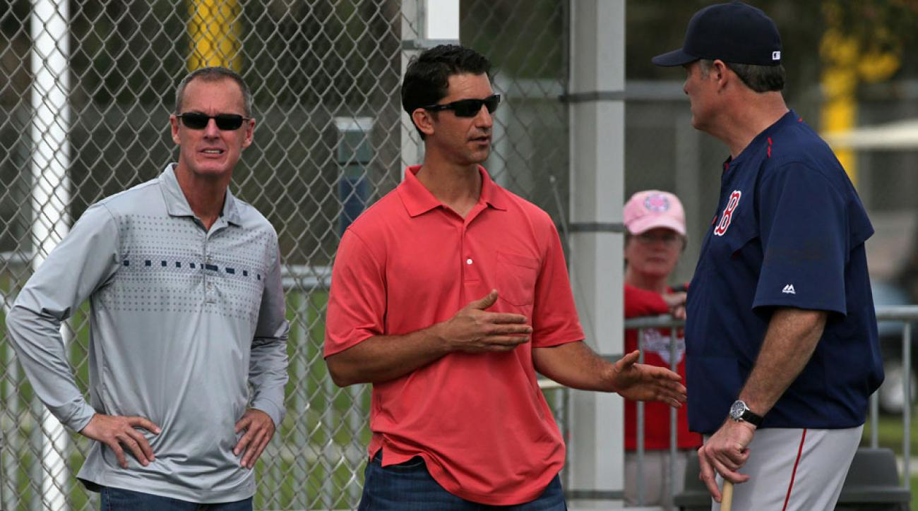 The Red Sox named Mike Hazen (center) their general manager on Thursday.