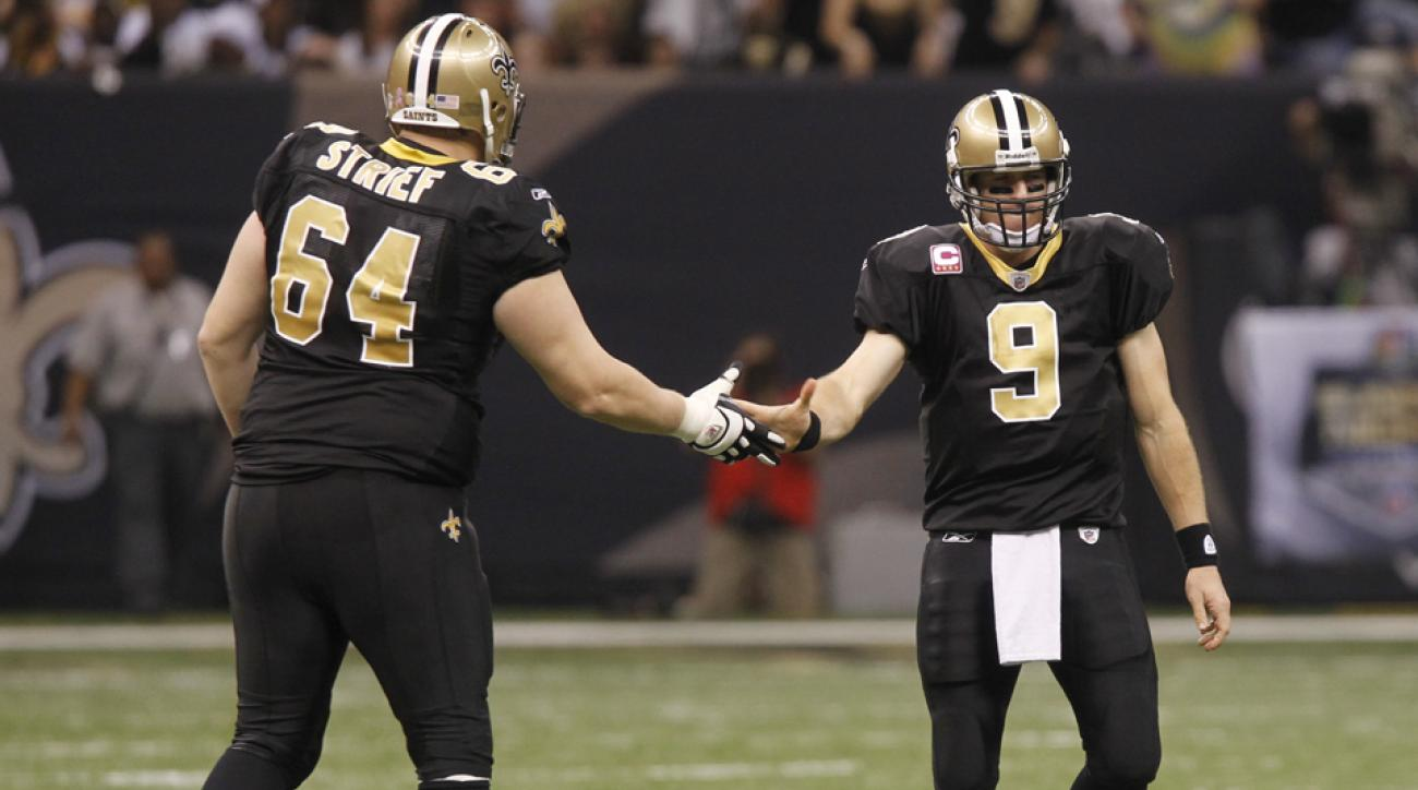 new orleans saints drew brees injury zach strief apologizes hit