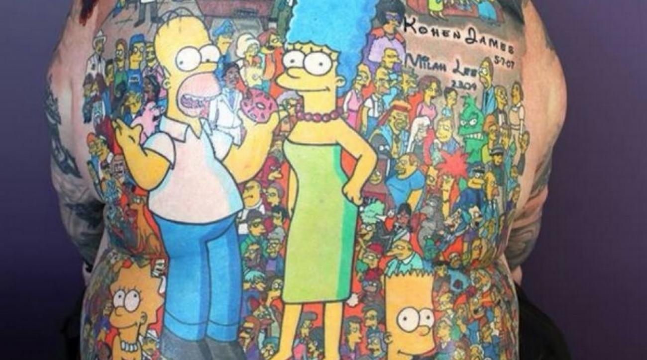 Man gets world record for 203 Simpsons tattoos