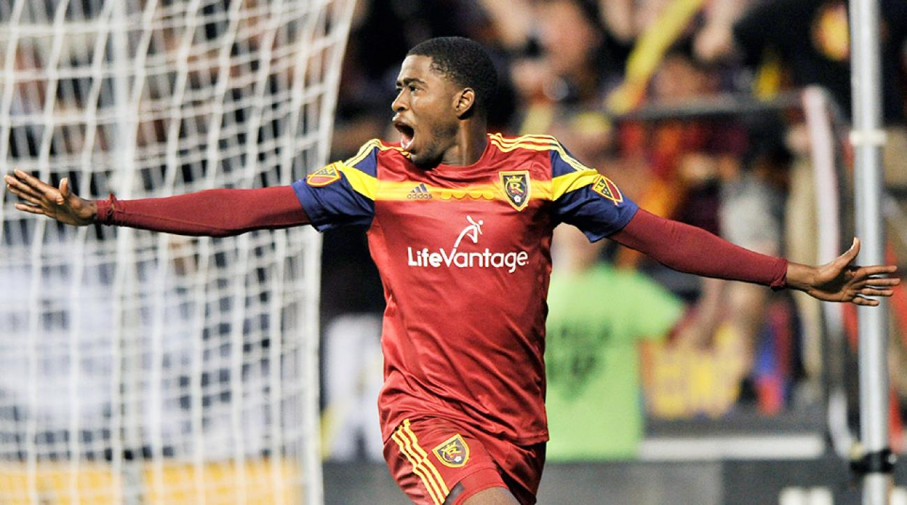 Olmes Garcia scored for Real Salt Lake against Santa Tecla.