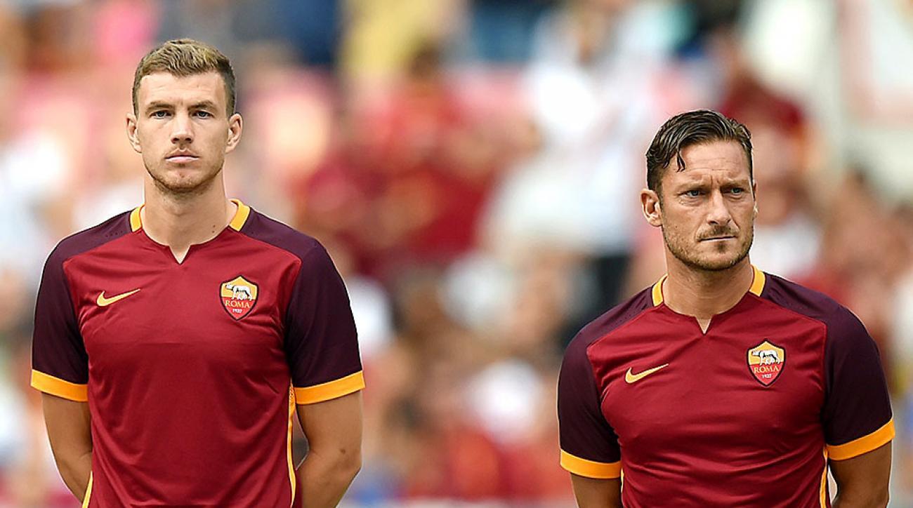 Edin Dzeko Francesco Totti Roma
