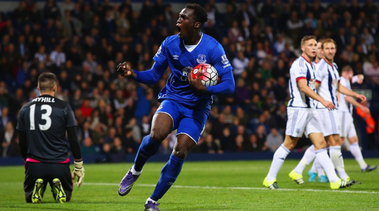Romelu Lukaku scores twice for Everton against West Brom